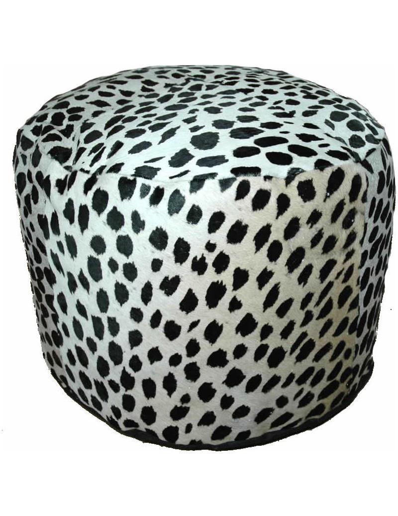 pouf peau de vache dessin leopard. Black Bedroom Furniture Sets. Home Design Ideas