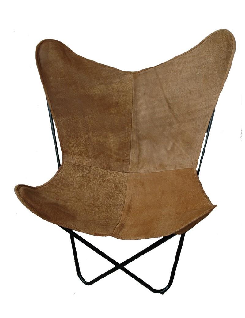 Schmetterling Stuhl in Buffalo Leder