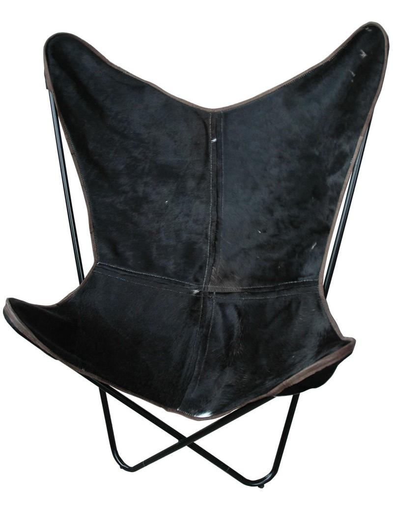 chaise papillon avec peau de vache noir. Black Bedroom Furniture Sets. Home Design Ideas