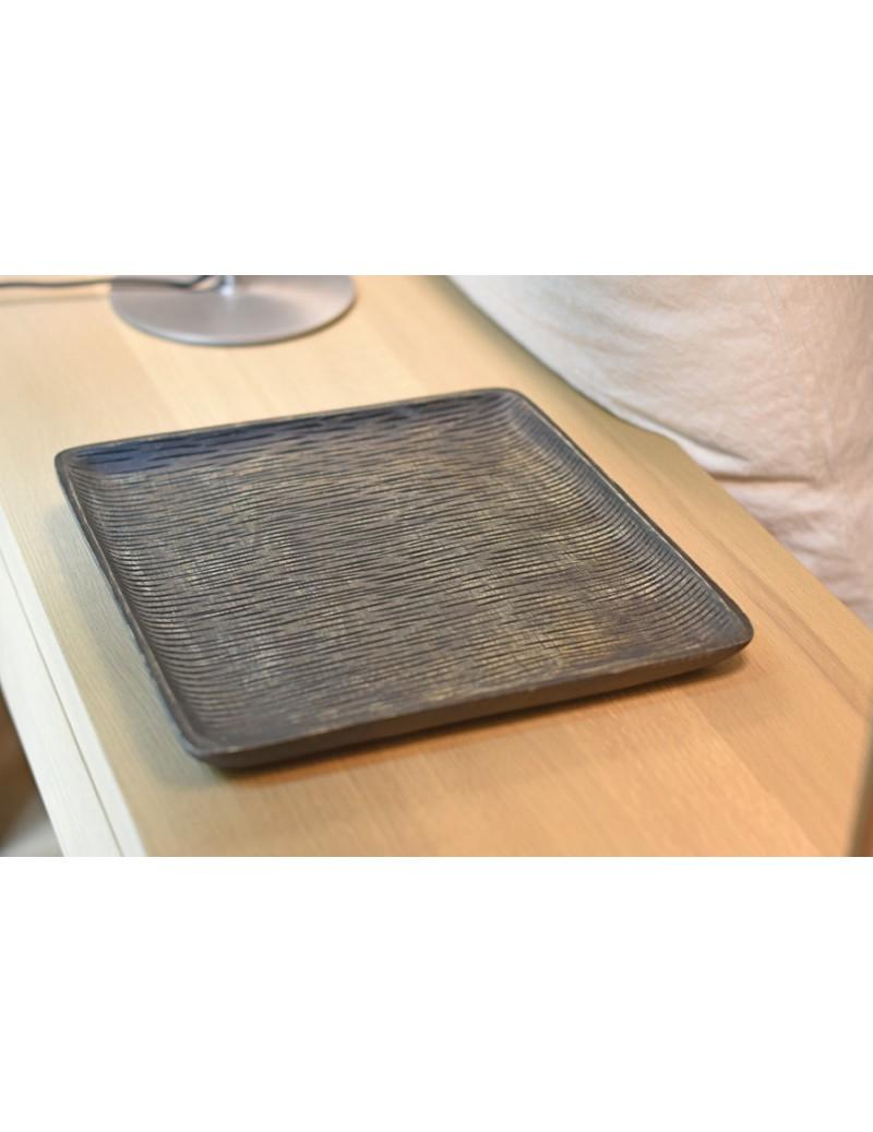 Plat carré en bois de mangue - wengé