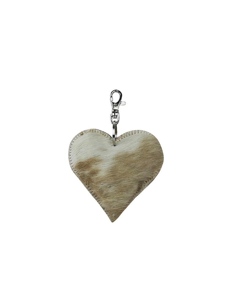 Sleutelhanger Mini hart bruin