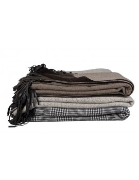 Brown Plaid Leather Fringes Scapa Home